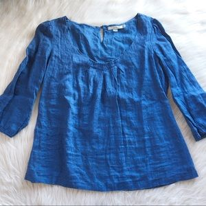 Boden 8 linen cotton shirt blue 3/4 sleeve